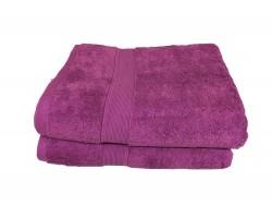 Lot de 2 Grands Draps de Bain Eponge 600 g/m²  100 % coton - Violette