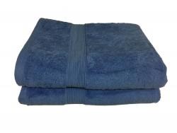 Lot de 2 Grands Draps de Bain Eponge 600 g/m²  100 % coton - Bleu