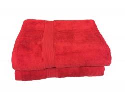 Lot de 2 Grands Draps de Bain Eponge 600 g/m²  100 % coton - Rouge
