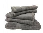 Lot de 5 Grandes Serviettes Eponge 600 g/m²  100 % coton - Anthracite