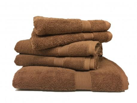 Lot de 5 Grandes Serviettes Eponge 600 g/m²  100 % coton - Marron