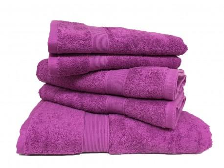Lot de 5 Grandes Serviettes Eponge 600 g/m²  100 % coton - Violette