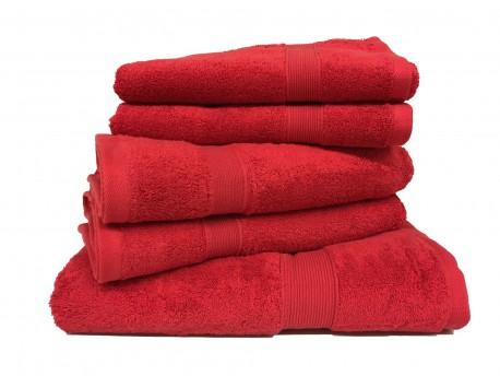 Lot de 5 Grandes Serviettes Eponge 600 g/m²  100 % coton - Rouge