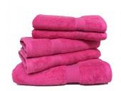 Lot de 5 Grandes Serviettes Eponge 600 g/m²  100 % coton - Fuschia