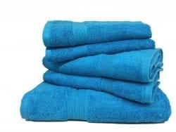Lot de 5 Grandes Serviettes Eponge 600 g/m²  100 % coton - Turquoise