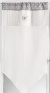Voilage Brodé avec Initial et à Poids Gris - 60x120 cm