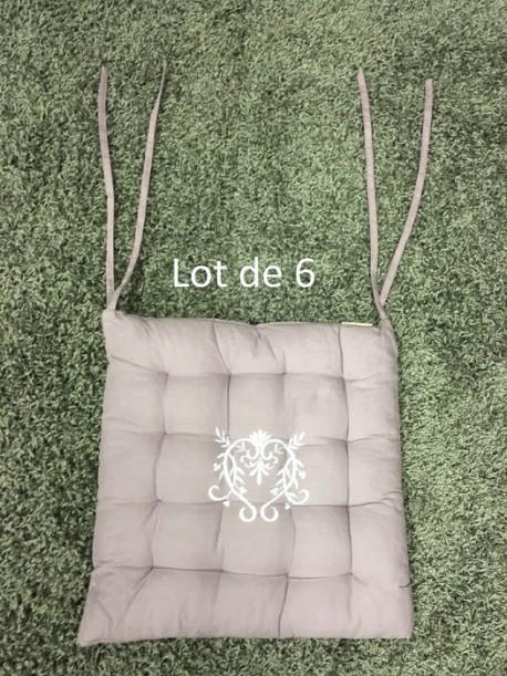 Lot de 6 Galettes de Chaise Peaceland Aubergine 40x40 + 5 cm