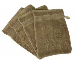 Lot de 4 Gants de Toilette - 20x15 - Beige