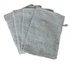 Lot de 4 Gants de Toilette - 20x15 - Gris