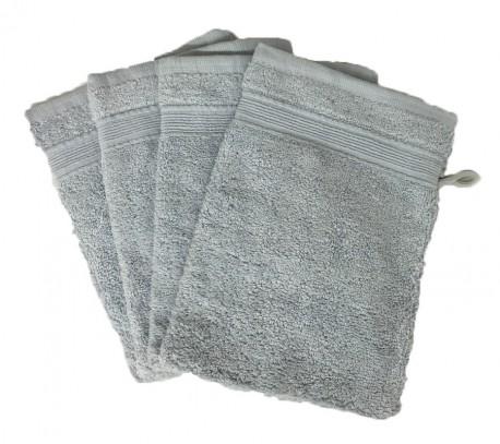 Lot de 4 Gants de Toilette - 20x15 - Gris