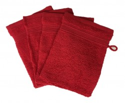 Lot de 4 Gants de Toilette - 20x15 - Rouge