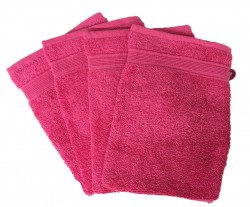 Lot de 4 Gants de Toilette - 20x15 - Fuschia