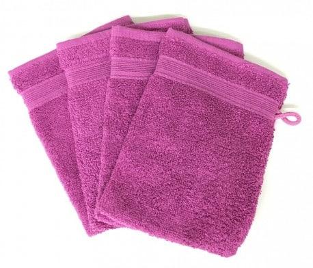 Lot de 4 Gants de Toilette - 20x15 - Violet