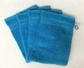 Lot de 4 Gants de Toilette - 20x15 - Turquoise
