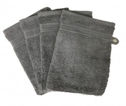 Lot de 4 Gants de Toilette - 20x15 - Anthracite