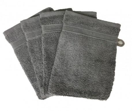 Lot de 4 Gants de Toilette - 20x15 - Anthracite
