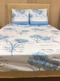 Drap Flanelle (4p) Fleur Bleu
