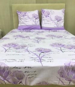 Drap Flanelle (4p) Fleur Violet