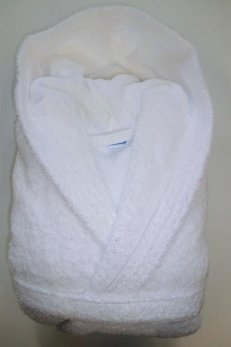 Peignoir Capuche 500g/m² Blanc 100% Coton