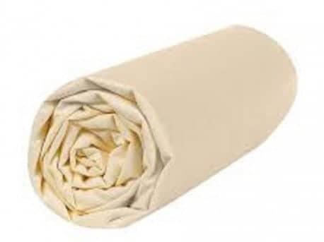 Drap Housse  Jersey 180x200 Bonnet 30cm  Coton Extensible Vanille