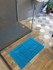 Tapis de bain 100% coton Tahiti 50x80 Turquoise