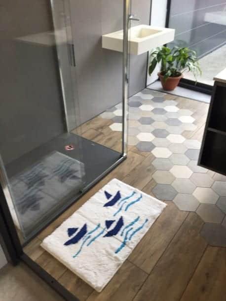 Tapis de bain Malo Antidérapant 50x80cm Bateau Bleu/Blanc