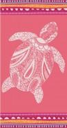 Serviette de plage Tortue sur fond rose 150X170 Sun&Surf