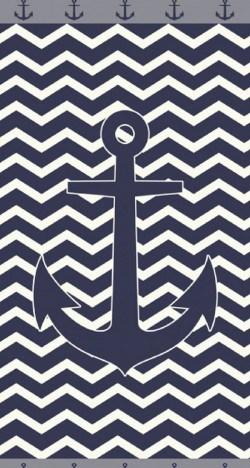Serviette de plage Ancre Bleue sur fond vagues Sun & Surf 90x170