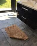 Tapis de bain 100% coton Lutèce Antidérapant Caramel 50x80