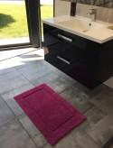 Tapis de bain 100% coton Lutèce Antidérapant Prune  50x80