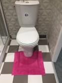 Tapis de bain contour WC et lavabo 100% coton Manihi 50x45 cm Fuschia