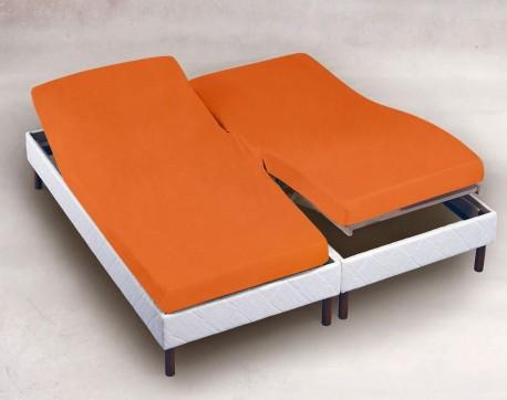 Drap Housse Jersey Tête et Pied  Relevable Bonnet 30cm  Coton Extensible Mandarine