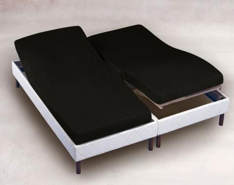 Drap Housse Jersey Tête et Pied  Relevable Bonnet 30cm  Coton Extensible Noir