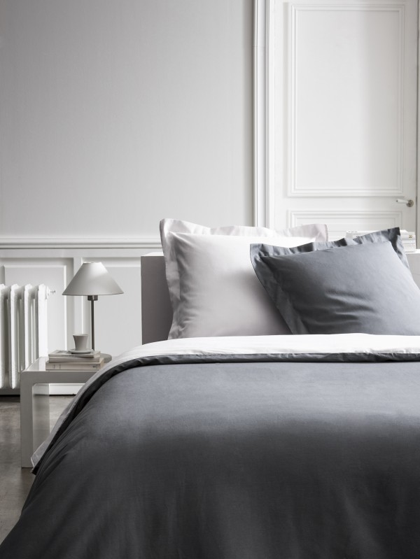 housse de couette 240x260 percale bicolore drap housse canon de fusil zinc. Black Bedroom Furniture Sets. Home Design Ideas