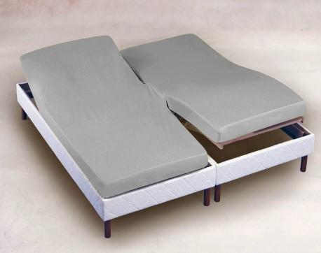 drap housse 2x70x200 gris