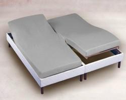 drap housse 2x70x190 gris
