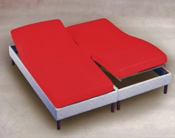 Drap Housse 2x80x200 Rouge TPR