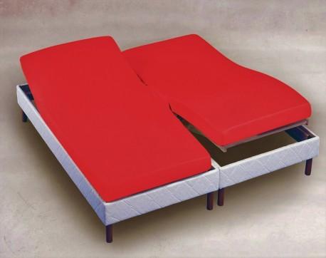 drap housse 2x80x200 Rouge