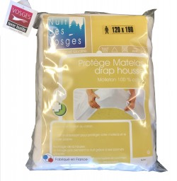 Protège Matelas Aubin Molleton 100% coton, 120x190 forme drap housse