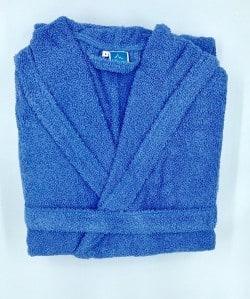 Peignoir Capuche Bleu Foncé - 100 % coton - 500gr/m² (Taille S)
