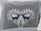 Lot de 2 Taies d'oreillers Placées 65x65cm Cerf des Neiges Bleu