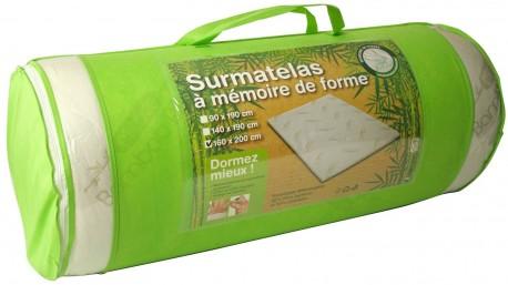 Surmatelas à mémoire de forme 140x190 - Visco et fibre de bambou