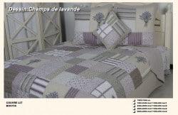 Boutis Couvre-lit Champs de lavande 2 places