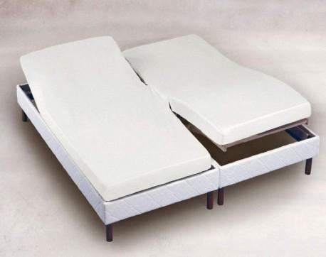 Protège Matelas 2x80x200 molleton coton 200gr/m² pour lit Tête et Pieds Relevables