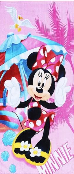 Serviette de plage Minnie Summer Rose 100% coton 70x140cm