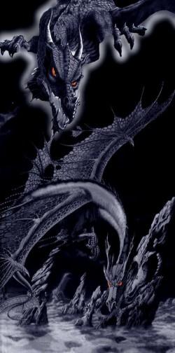 Serviette de plage Dragon Noir 100% coton 90x170cm