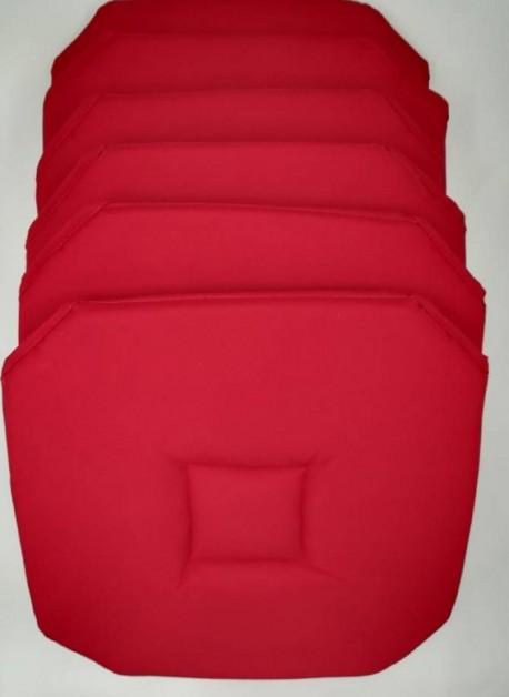 Lot de 6 galettes de chaise Axel Rouge
