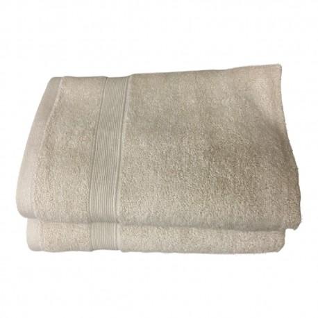 Lot de 2 Serviettes de Bain Eponge 600 g/m²  100 % coton - Beige