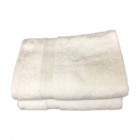 Lot de 2 Serviettes de Bain Eponge 600 g/m²  100 % coton - Blanche