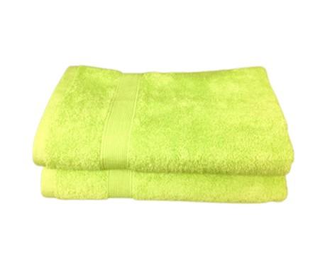 Lot de 2 Serviettes de Bain Eponge 600 g/m²  100 % coton - Verte